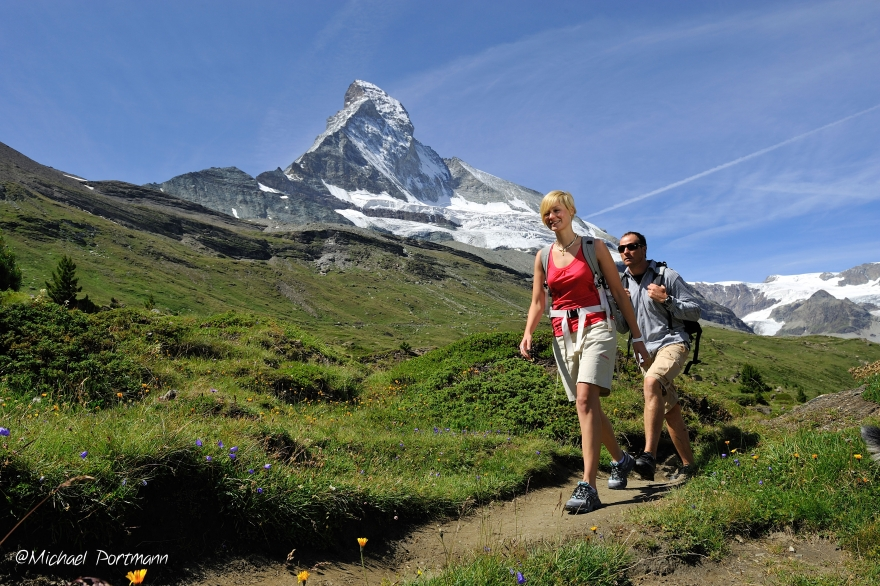 Hiking in front of the Matterhorn Mattertal
