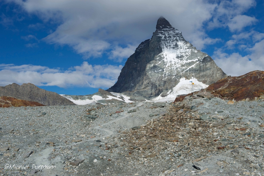 The Matterhorn from the glacier footpath Mattertal